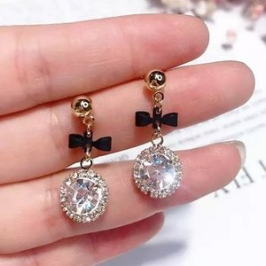 bow crystals drop dangling earrings